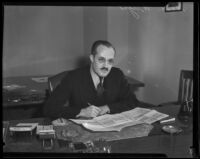 Willard H. Wright, literary editor of the Los Angeles Times, Los Angeles, 1930s
