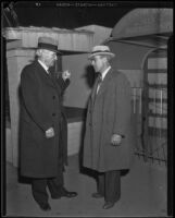 Harry Chandler and Nelson Rounsevell at Grand Central Air Terminal, Glendale, 1930s