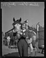 Cowgirl Alice Van in Tex Austin's cowboy championships, Los Angeles, 1935
