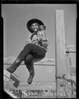 Cowgirl Florence Van in Tex Austin's cowboy championships at Gilmore Stadium, Los Angeles, 1935