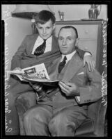 Minister Michael MacWhite with his 12-year-old son Eoin, Los Angeles, 1935