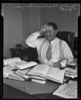 Judge Charles L. Brogue in his office, Los Angeles, 1935
