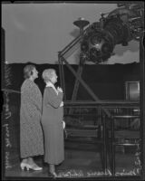 Speech reading therapists Mrs. Mary Rogers Miller and Miss Bessie Whitaker at the Griffith Observatory, Los Angeles, 1935