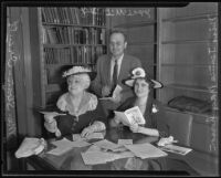 Mrs. Leafie Sloan-Orcutt, Dr. J. W. Todd and Miss. Jeanie MacPherson, Los Angeles, 1935