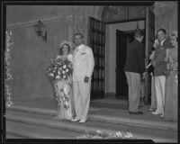Hallam Cooley and Doris MacMahon on their wedding day, Los Angeles, 1935
