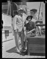 John C. Kelley, Honolulu Public Prosecutor, with wife aboard the ocean liner Lurline, Los Angeles, 1935