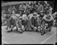 Members of the United States Army infantry cleaning their shoes, Los Angeles County, 1935