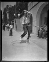 Bill Stephenson exhibiting his roping skills, Los Angeles, 1935