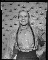 Lewis M. Blackburn, cafe manager, after getting robber arrested, Los Angeles, 1935