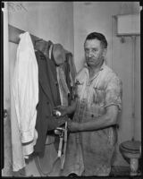 Garage proprietor Fred H. Foster after catching robber, Los Angeles, 1935