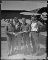 Aviators Ely Barlow, Henry Bakes, Bob Blair, and Gus Pitcairn, 1935