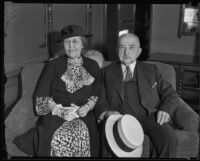 Prominent banker Joseph F. Sartori with wife, Los Angeles, 1935