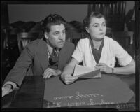 Pedro J. Gonzalez and attorney Anna Zacsek in a courtroom, Los Angeles, 1935