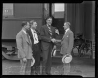Local Republican leaders Leo Anderson, Edward Shattuck and W. E. Evans welcoming Hamilton Fish, Los Angeles, 1935
