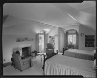 Bedroom possibly designed by J. R. Davidson or Jock Peters, Los Angeles County, 1928-1934