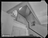 Stairwell in a house possibly designed by J. R. Davidson or Jock Peters, Los Angeles County, 1928-1934