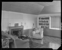 Top floor room in a house possibly designed by J. R. Davidson or Jock Peters, Los Angeles County, 1928-1934