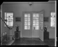 Entrance hall of a house possibly designed by J. R. Davidson or Jock Peters, Los Angeles County, 1928-1934