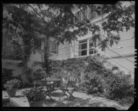 House seen from a patio, possibly designed by J. R. Davidson or Jock Peters, Los Angeles County, 1928-1934