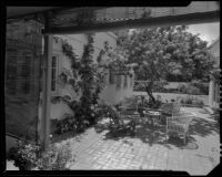 House facade and patio possibly designed by J. R. Davidson or Jock Peters, Los Angeles County, 1928-1934