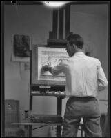 Barse Miller, painter and muralist, at work in his studio, 1930-1939