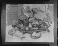 Still life with fruit on a table, painting by Base Miller, 1925-1939