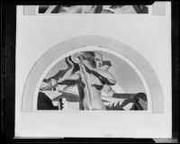 Lunette-shaped mural study (?) with river personification, painting by Barse Miller, 1925-1939