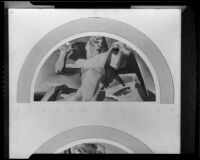 Lunette-shaped mural study (?) with male nude and airplanes, by Barse Miller, 1925-1939