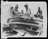 Five men in a boat, painting by Barse Miller, 1925-1939