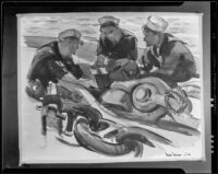 Scene with three sailors on a ship (signed and dated 1934), painting by Barse Miller, 1934-1939