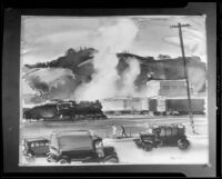 Scene with railroad cars and roadside, painting by Barse Miller, 1925-1939