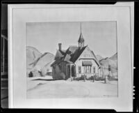 Watercolor of a house or church with steeple in a rural setting, painting by Barse Miller, 1925-1939