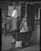 Stanley Reckless and his wife (?) in the studio of their Silver Lake home, Los Angeles, 1930-1939