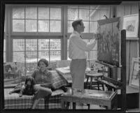 Paul Sample and Sylvia Sample in the studio of their home, Pasadena, circa 1935