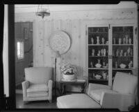 Hand vase collection on display in the William Conselman Residence, Eagle Rock, 1930-1939