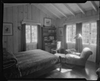 Bed room in the William Conselman Residence, Eagle Rock, 1930-1939