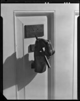 Door knocker at the William Conselman Residence, Eagle Rock, 1930-1939