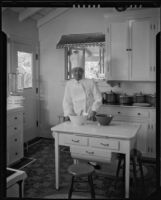Chef in the kitchen of the William Conselman Residence, Eagle Rock, 1930-1939