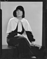 Mina Conselman seated on a bench, Los Angeles, 1927-1929