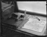 Printmaking tools in the art studio of Arthur Millier, Santa Monica, circa 1930-1931