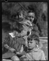 Arthur Millier with his children David, Mojave and Arthur, Santa Monica, circa 1930-1931