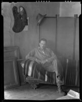 Kenneth Adams in his studio, Ranchos de Taos, 1932