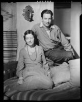 Hilda Adams and painter Kenneth Adams at home, Ranchos de Taos, 1932