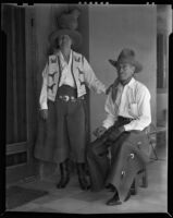 Alice Corbin Henderson and William Penhallow Henderson in cowboy attire at their home, Santa Fe, 1932