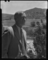 William Penhallow Henderson in a suit at his home, Santa Fe, 1932