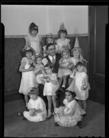 Sheriff Gene Biscailuz and young orphan girls, Los Angeles, 1936