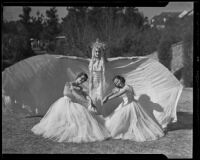 Three members of the California Music Club Juniors - Shirley Smith, Elizabeth Hunt and Virginia Solomon - in a rehearsal for a holiday play, Los Angeles, 1935