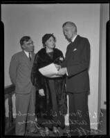 Forrest D. Macomber, Doris H. Jones, and Geoffrey F. Morgan at new courthouse, Santa Monica, 1936