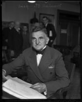 Attorney Marshall Stimson in court, Los Angeles, 1936