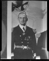 Rear-Admiral Frederick J. Horne, new naval aircraft commander, San Pedro, 1936